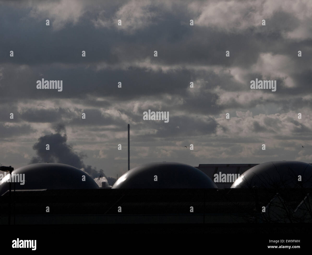 Storage vessels against sun - Stock Image