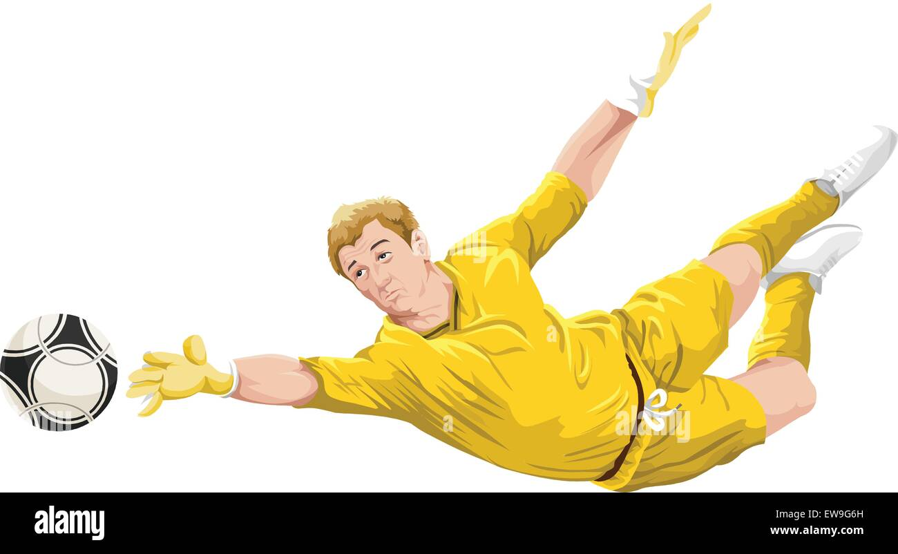Vector illustration of goalkeeper trying to catch the ball. - Stock Vector