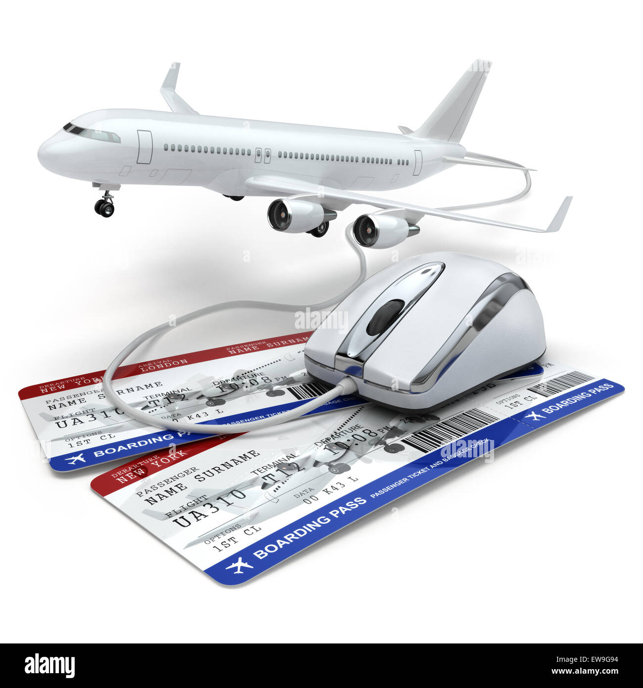 Online booking flight or travel concept. Computer mouse, airline tockets and airplane. 3d - Stock Image