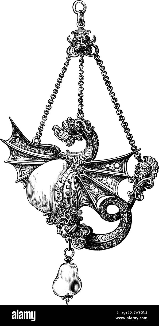 Jewel of the sixteenth century, vintage engraved illustration. Magasin Pittoresque 1875. - Stock Image