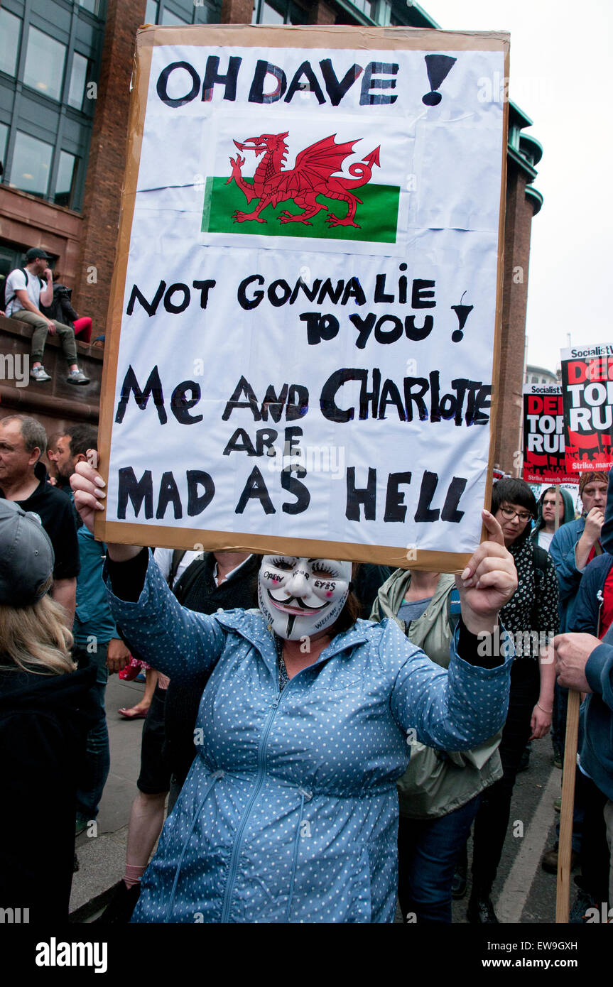 Anti-austerity march through central london June 20th 2014 - Stock Image