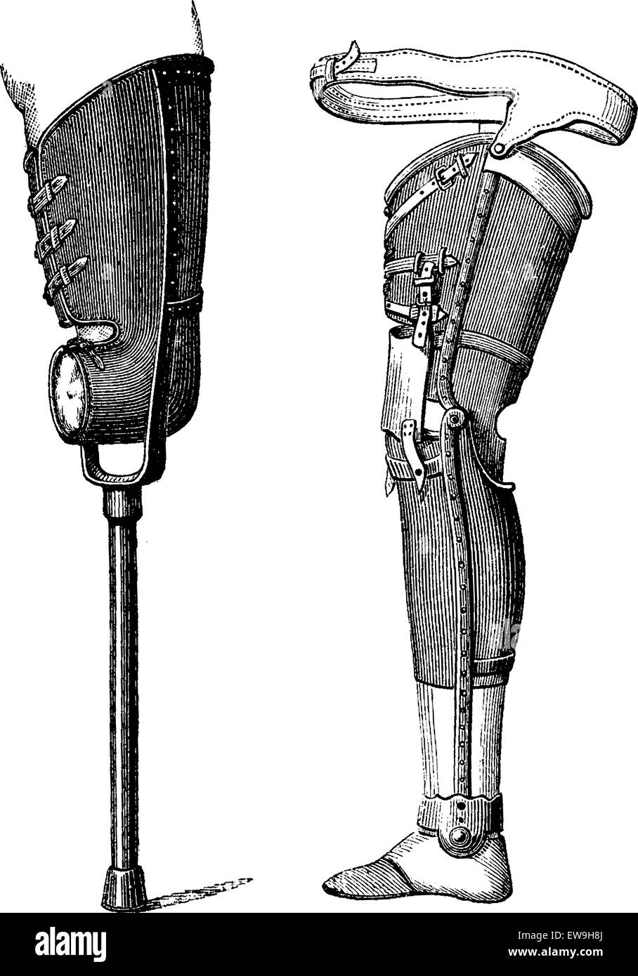 Artificial Legs Non-Bendable at the Knee (left) and Bendable at the Knee (right), vintage engraved illustration. - Stock Vector