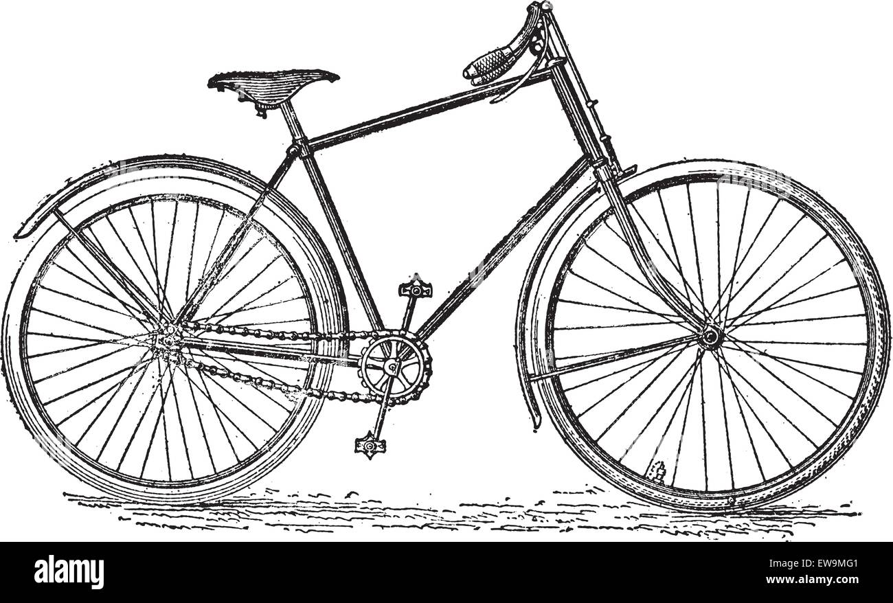 Velocipede bicycle, vintage engraved illustration. Dictionary of words and things - Larive and Fleury - 1895. - Stock Image
