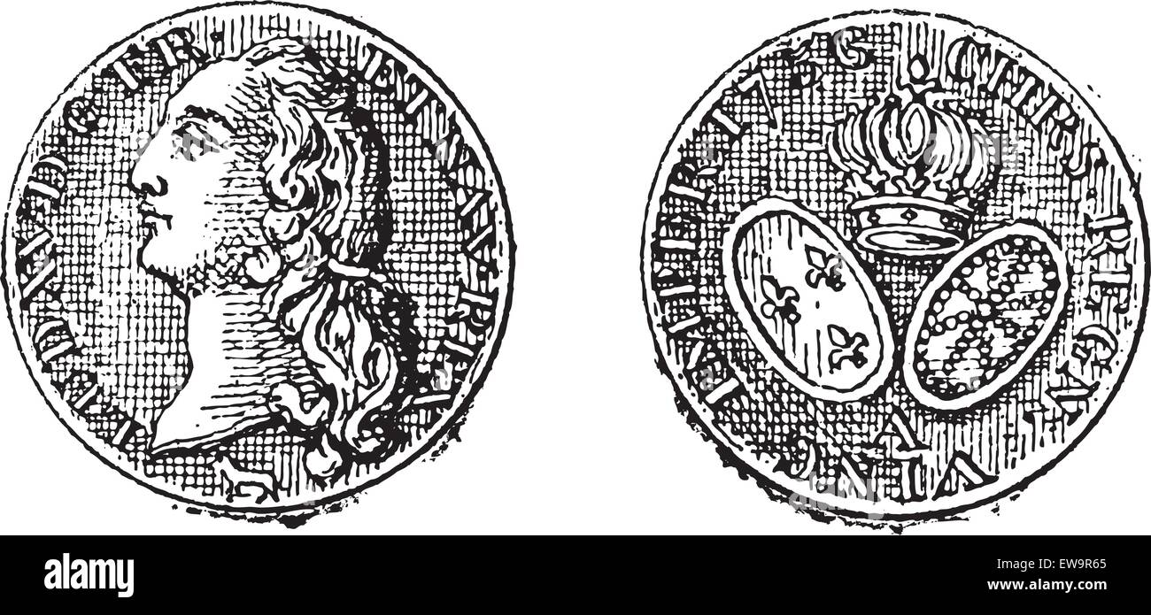 King Louis XV Gold Coin, front and back, vintage engraved illustration. Dictionary of Words and Things - Larive - Stock Vector