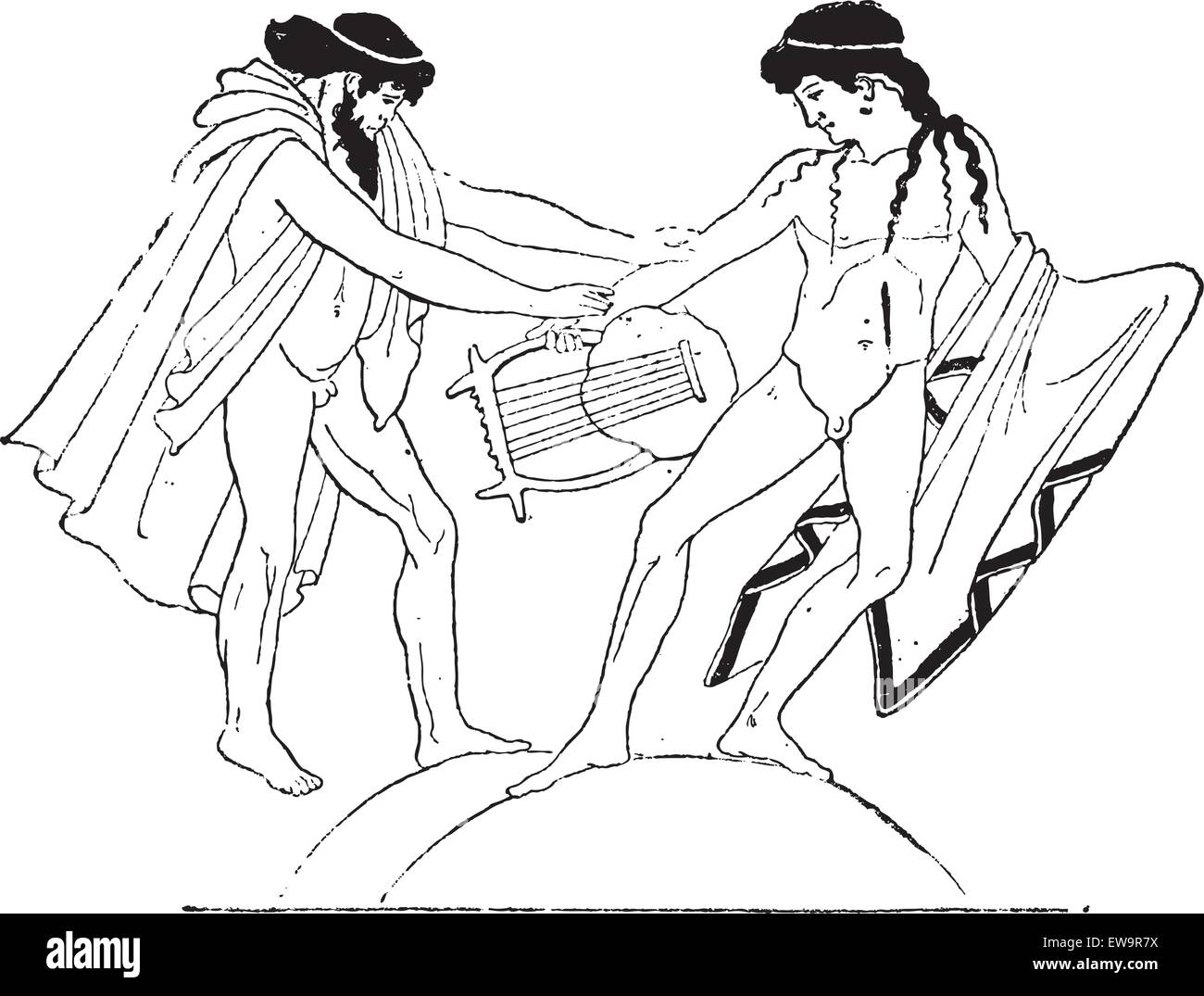 Vase Painting of Apollo and Bacchus Fighting over a Lyre, found at the National Library in Paris, France, vintage - Stock Vector