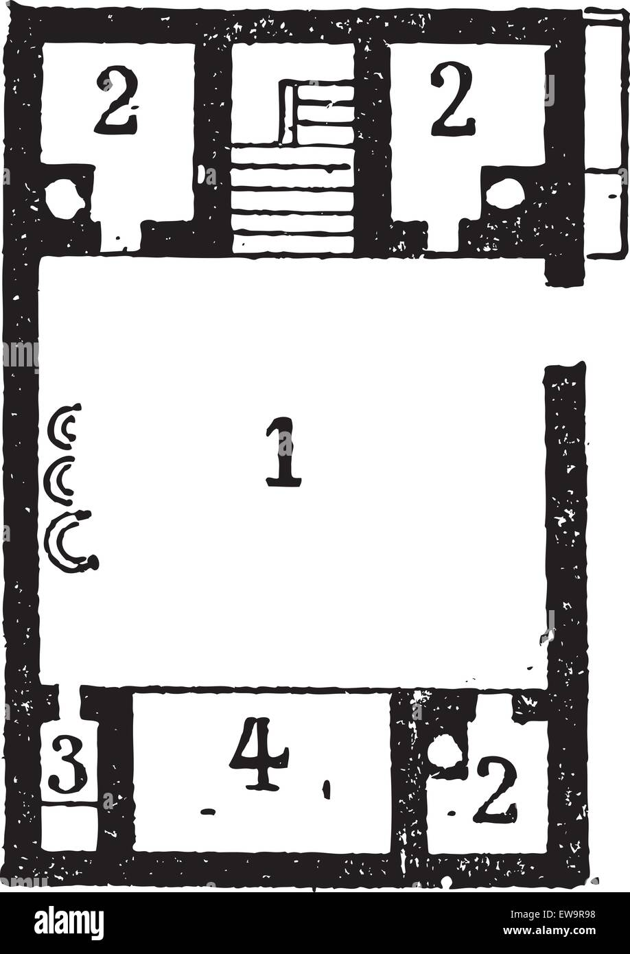 Floor Plan of an Egyptian House, showing (1) courtyard, (2) rooms, (3) latrine, and a (4) shed, vintage engraved - Stock Vector