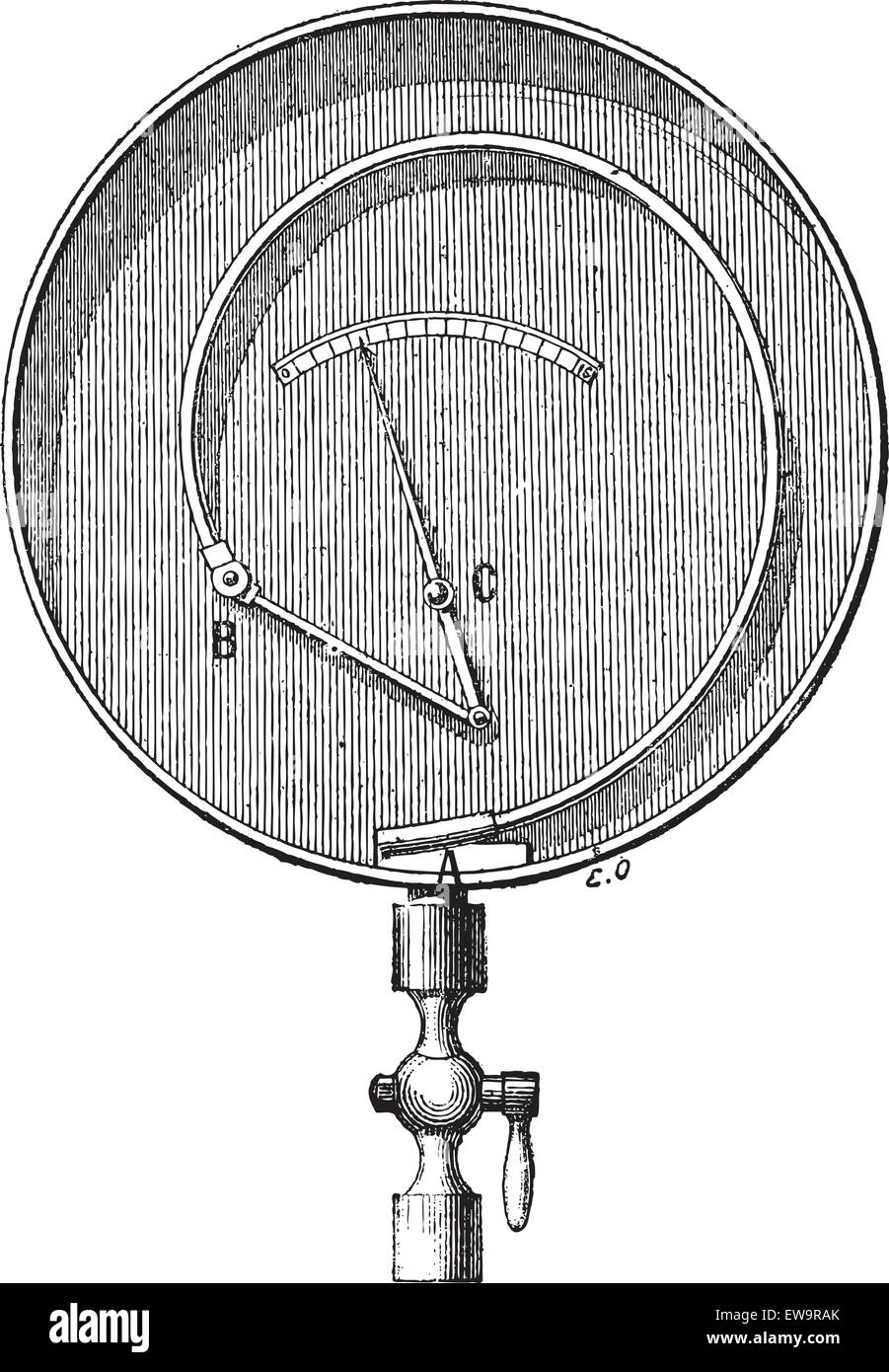 Bourdon Pressure Gauge, vintage engraved illustration. Dictionary of Words and Things - Larive and Fleury - 1895 - Stock Vector