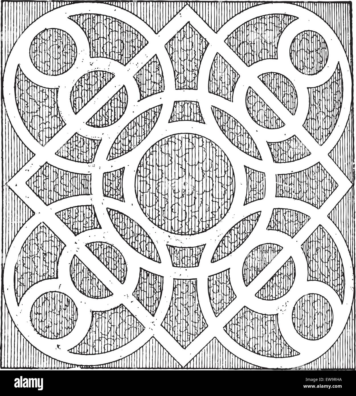 Meander, Labyrinth Pattern of the Garden of Cleanliness, by Androuet du Cerceau, vintage engraved illustration. - Stock Image
