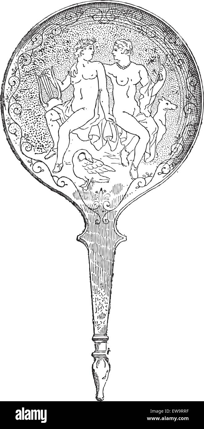 Greek Mirror, back side showing Apollo and Diana, at the Louvre Museum in Paris, France, vintage engraved illustration. - Stock Vector