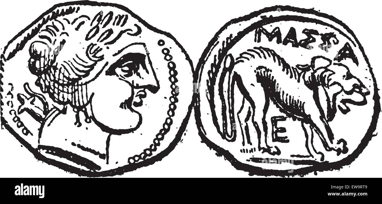 Ancient Celtic Drachma Coin, showing Head (front) and Lion (back), vintage engraved illustration. Dictionary of - Stock Vector