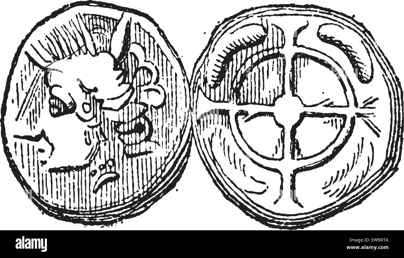 Ancient Celtic Drachma Coin, showing Head (front) and Cross (back), vintage engraved illustration. Dictionary of - Stock Vector