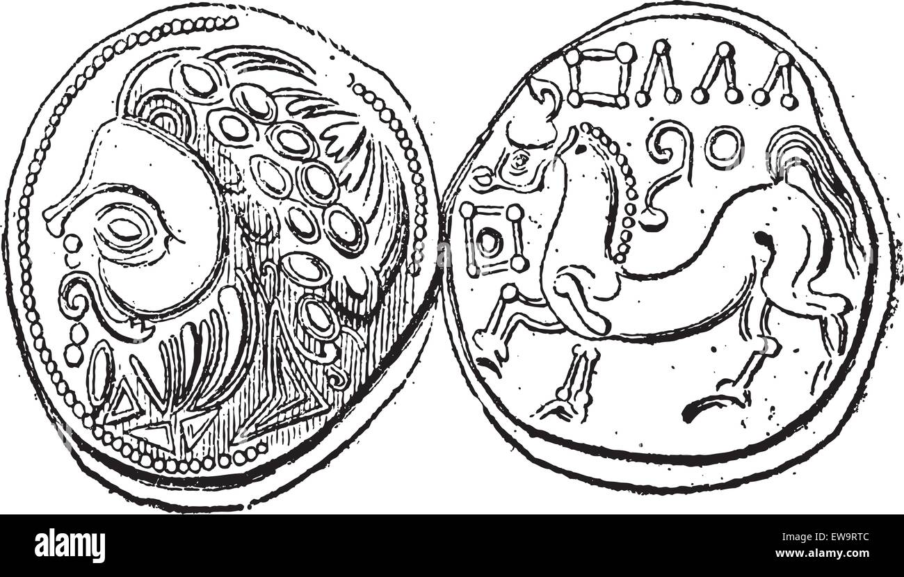 Ancient Celtic DiDrachma Coin, showing Head (front) and Belgian Horse (back), vintage engraved illustration. Dictionary - Stock Vector
