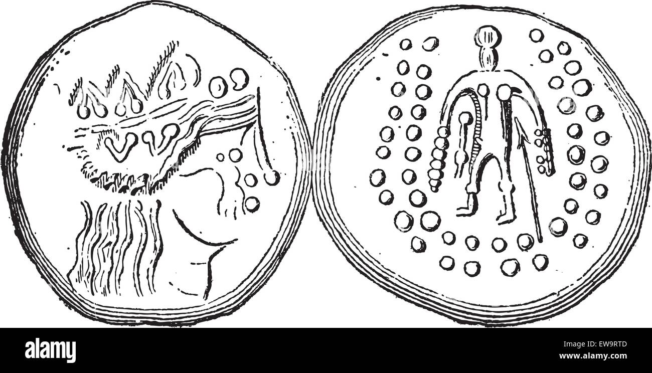 Ancient Celtic Tetradrachma Silver Coin, showing front and back, vintage engraved illustration. Dictionary of Words - Stock Vector