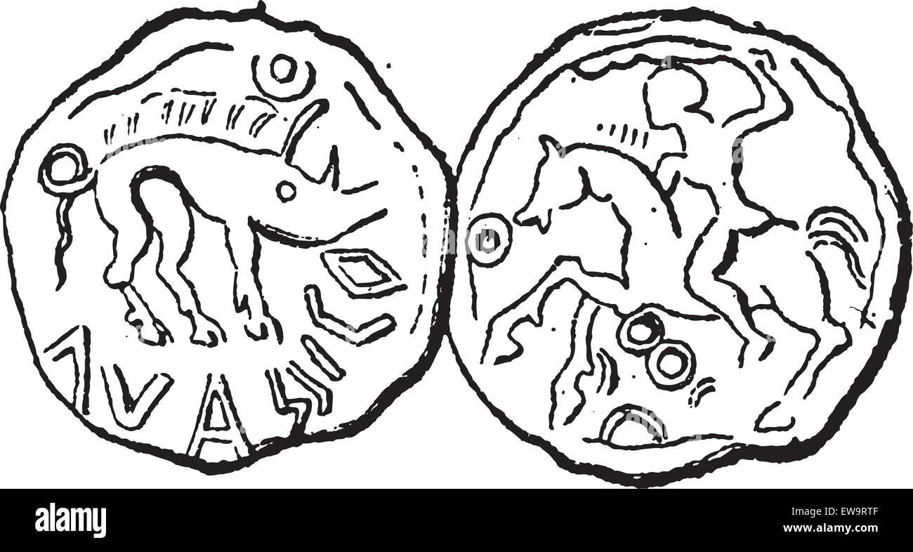 Ancient Celtic Coin, showing Boar (front) and Hunter on Horseback (back), vintage engraved illustration. Dictionary - Stock Vector