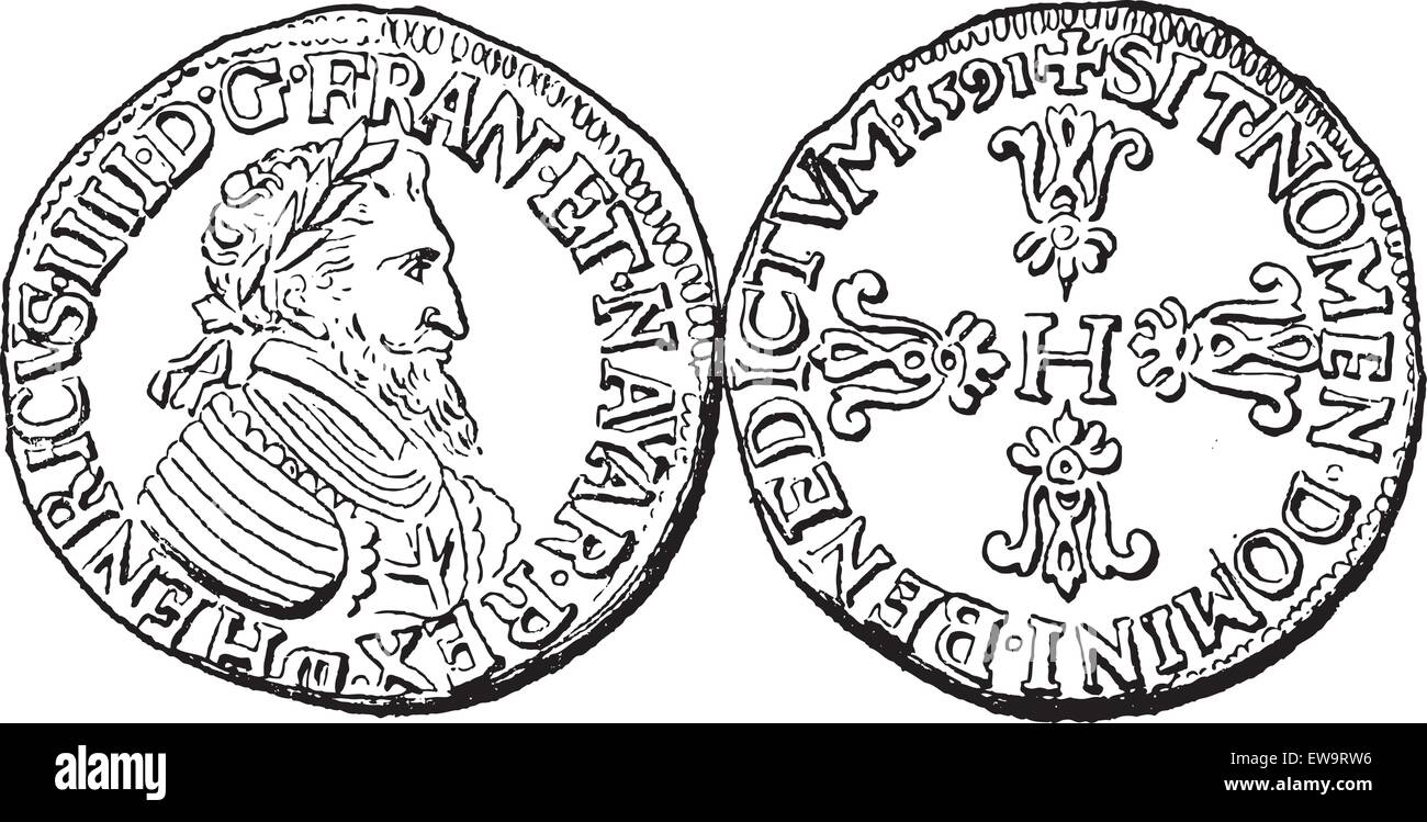 Coin Currency, during the rule of Henry IV of France, vintage engraved illustration. Dictionary of Words and Things - Stock Vector