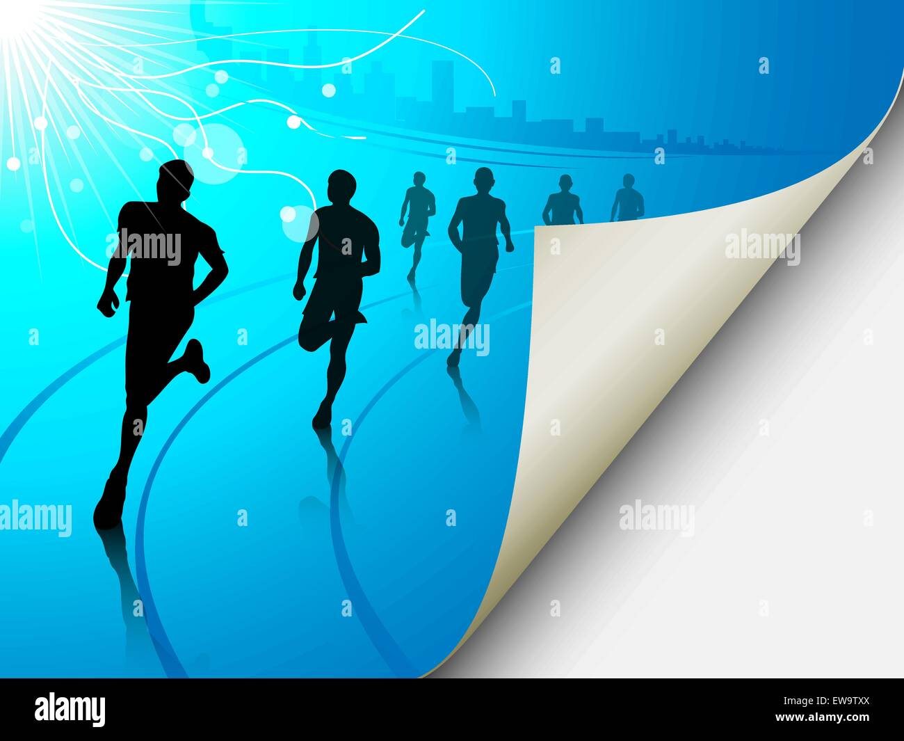 A set of six runners or marathon runners, running on a track on an abstract city or cityscape background with a Stock Vector