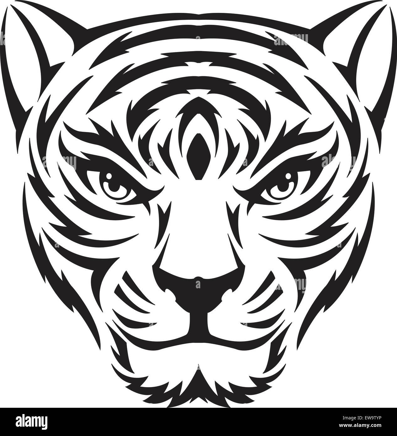 Tiger Face Tattoo Design Vintage Engraved Illustration