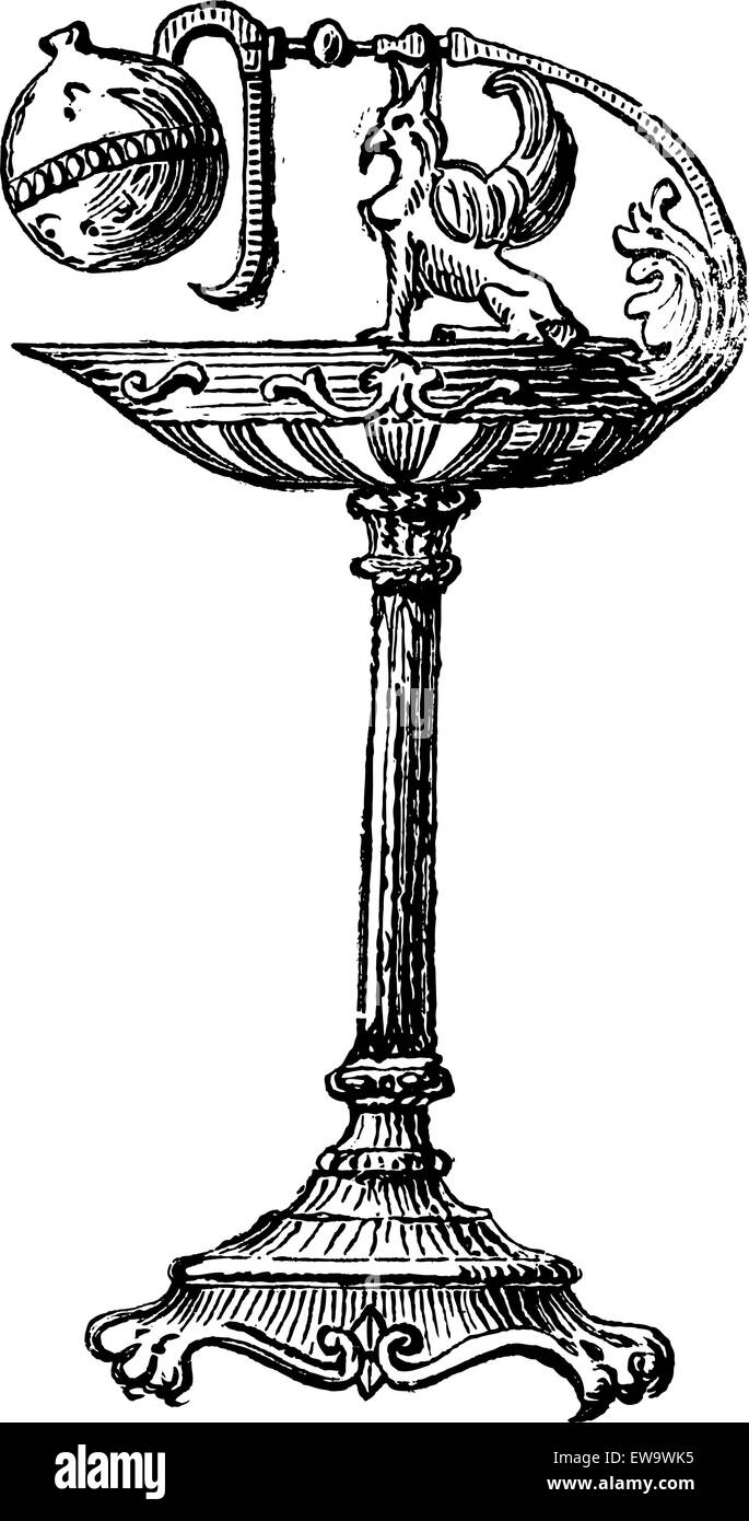 Bronze Oil Lamp by Percier et Fontaine, during the time of Napoleon I, vintage engraved illustration. Industrial - Stock Vector