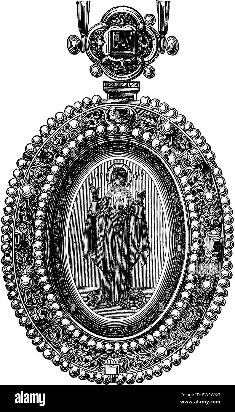 Byzantine Jewel with an image of a Saint, vintage engraved illustration. Industrial Encyclopedia - E.O. Lami - 1875 - Stock Image