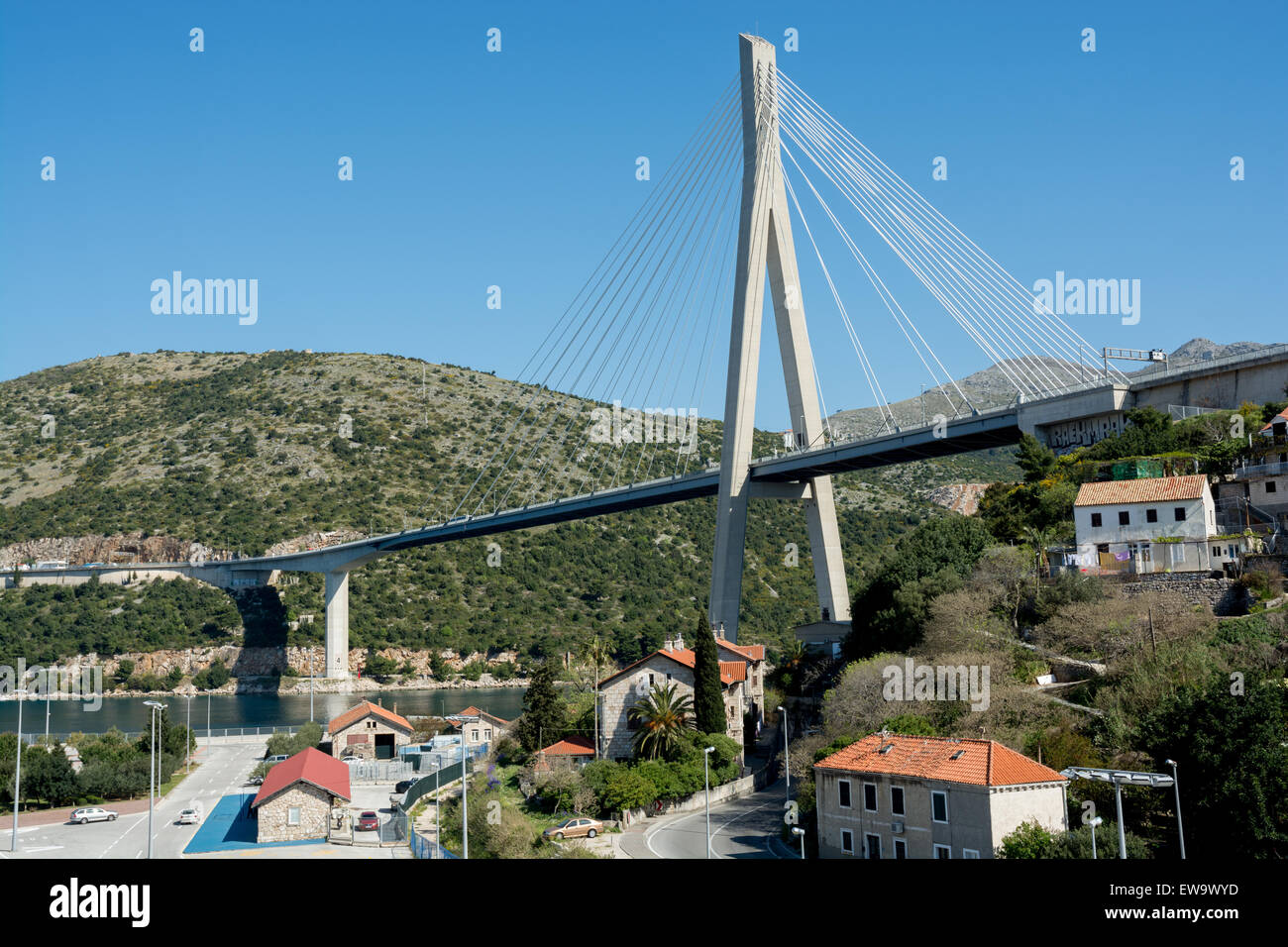 Franjo Tudman Bridge, Cable-stayed, suspension bridge at the western approach to Dubrovnik next to the Port of Gruz, - Stock Image