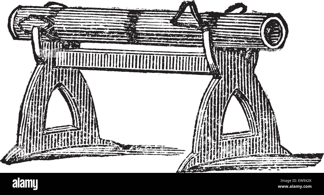 Engraving of a gun platform used at the Battle of Cressy in 1346. Old illustration of an antique gun used in the - Stock Vector