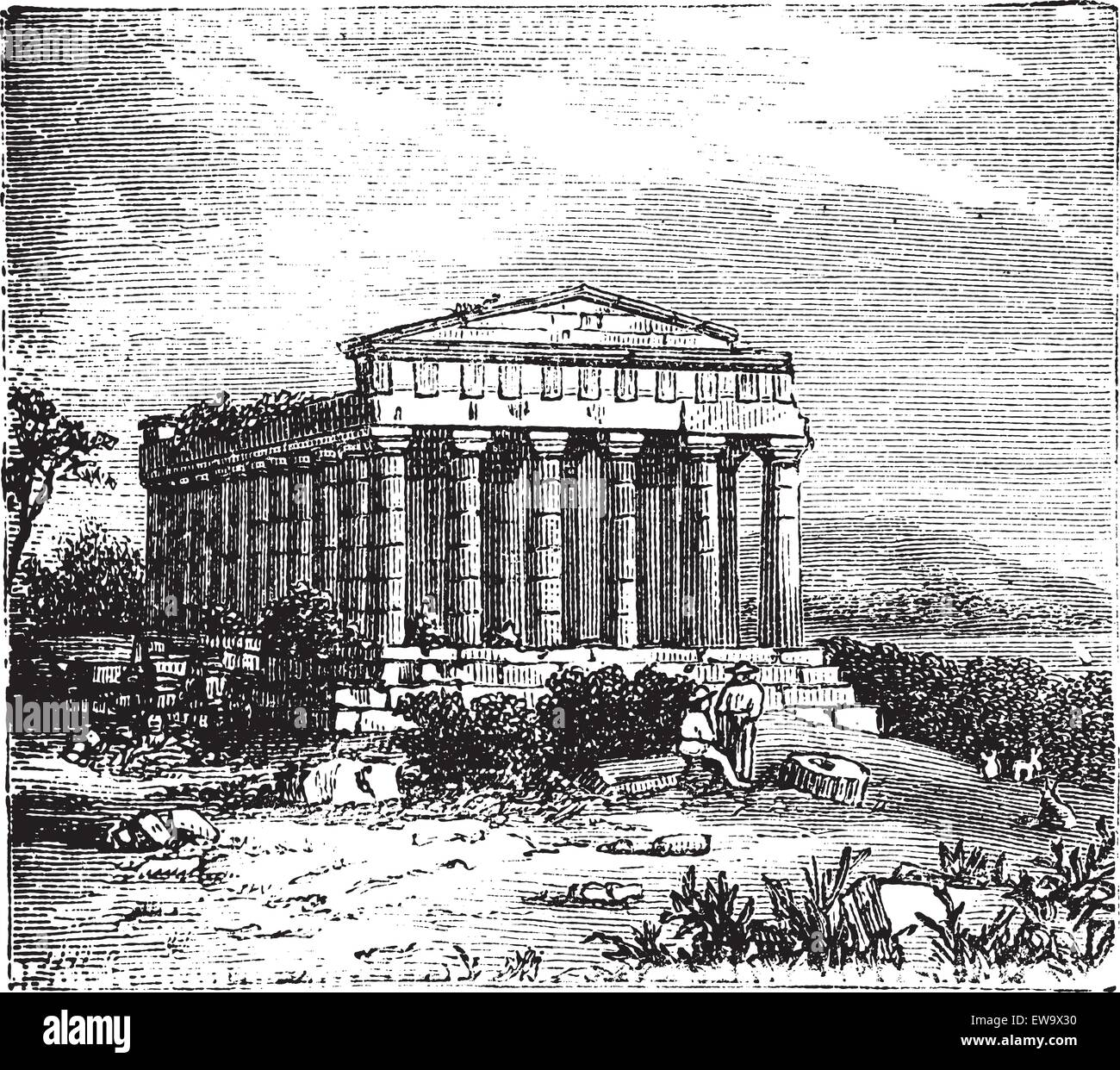 Old engraving of the Temple of Concord, Templum Concordiae, in Agrigente, Rome, Italy. Vintage engraved illustration - Stock Vector