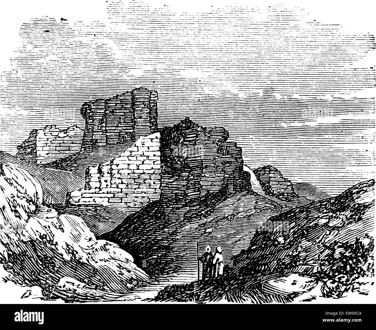 Ruins of the Main Palace in Babylonia in Babil, Iraq, during the 1890s, vintage engraving. Old engraved illustration - Stock Image