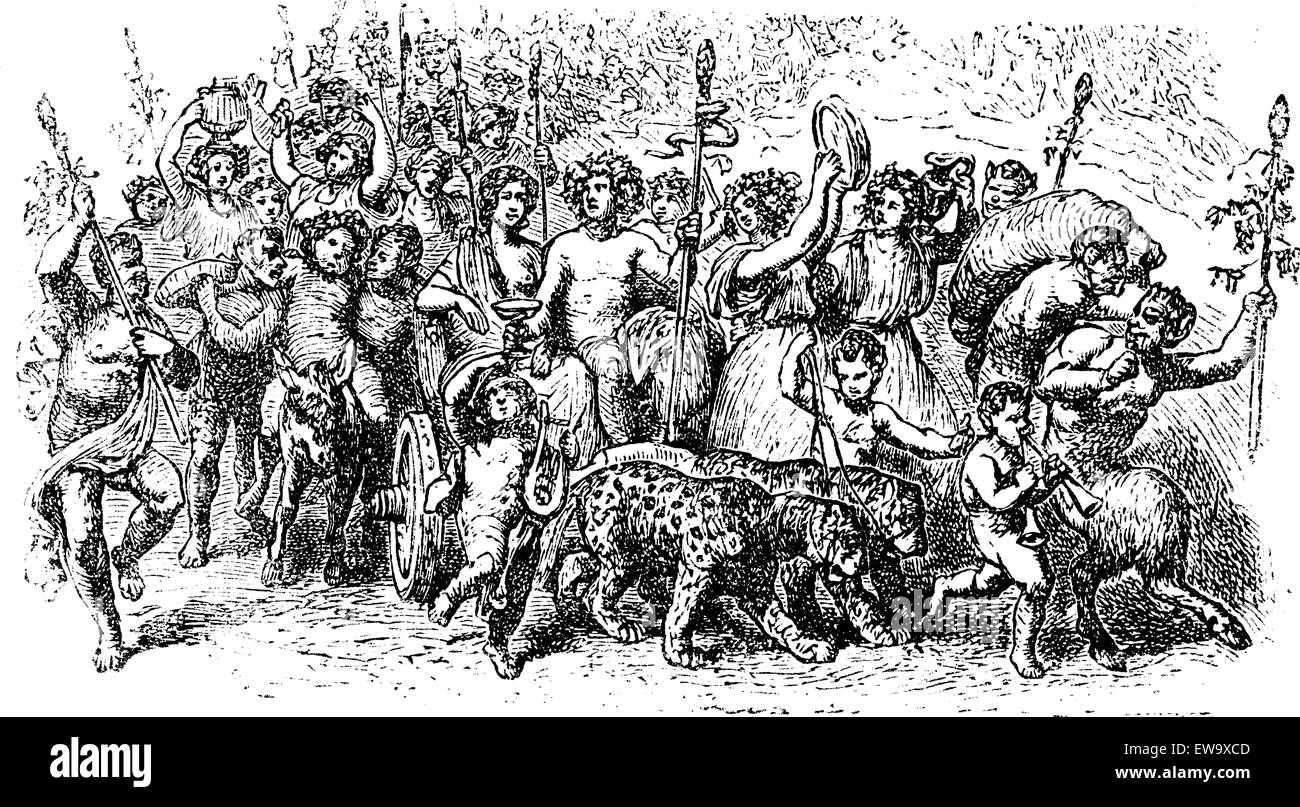Bacchanalia, a wild and mystic festivals of the Greco-Roman god Bacchus vintage engraving. Old engraved illustration Stock Vector
