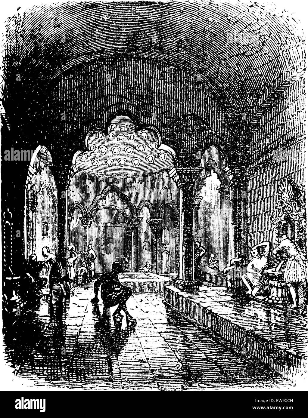 Turkish Bath, during the 1890s, vintage engraving. Old engraved illustration of a Turkish Bath. - Stock Vector