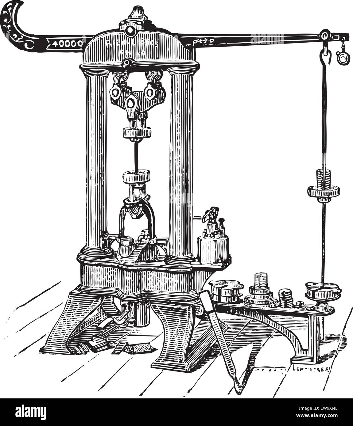 This Riehle testing machine was manufactured by Riehle Brothers, from Philadelphia. This type of machine was used - Stock Vector