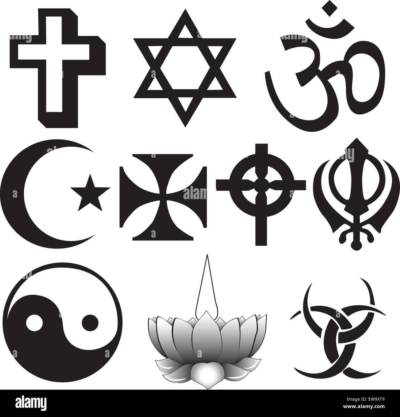 different symbols Different religions symbols Stock Vector Art