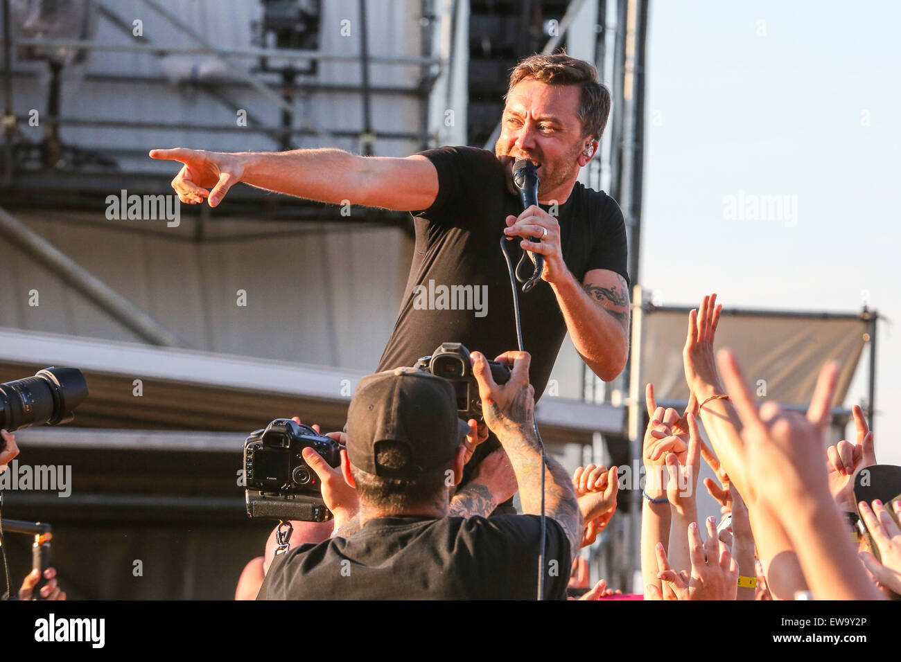 Rise Against performs at the 2015 Carolina Rebellion festival at the Charlotte Motor Speedway in Charlotte, NC. - Stock Image