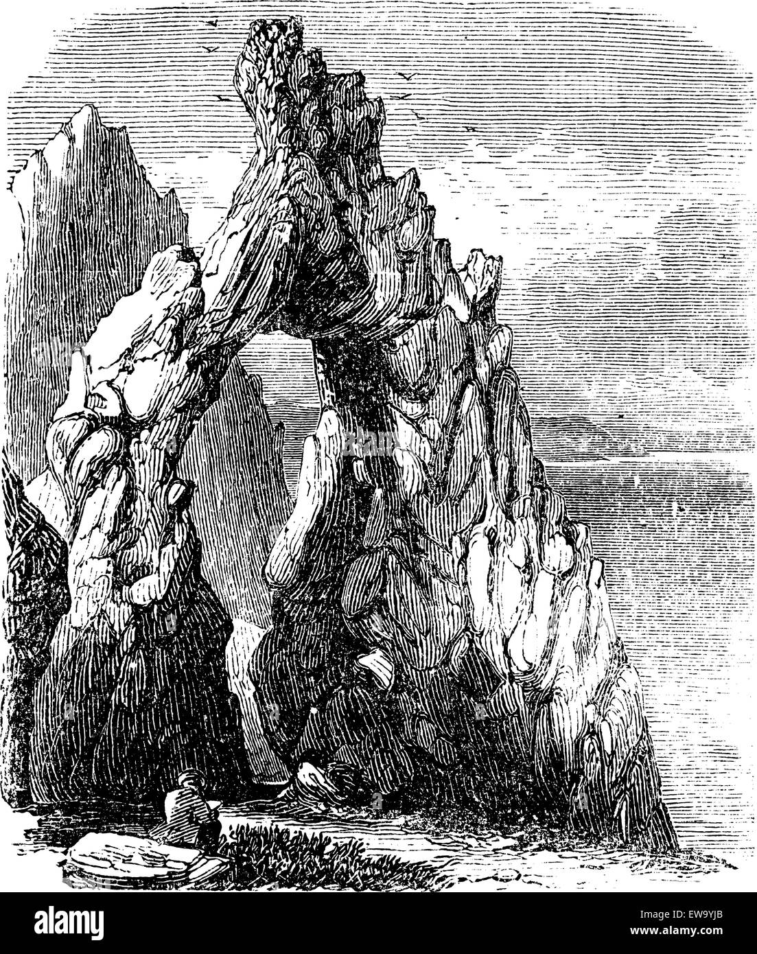 Capri, Italy, in the Tyrrhenian Sea. Natural rock arch or gaunt rock vintage engraving . Old engraved illustration - Stock Vector
