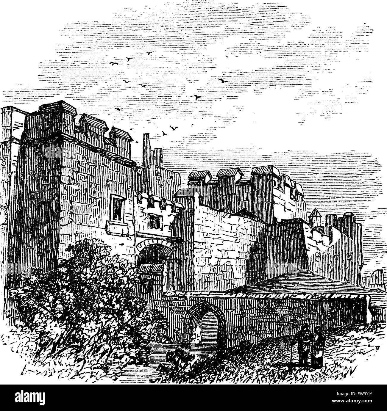 Entrance of the castle Carlisle, in Carlisle, county of Cumbria, United Kingdom vintage engraving, 1890s. Old engraved - Stock Vector