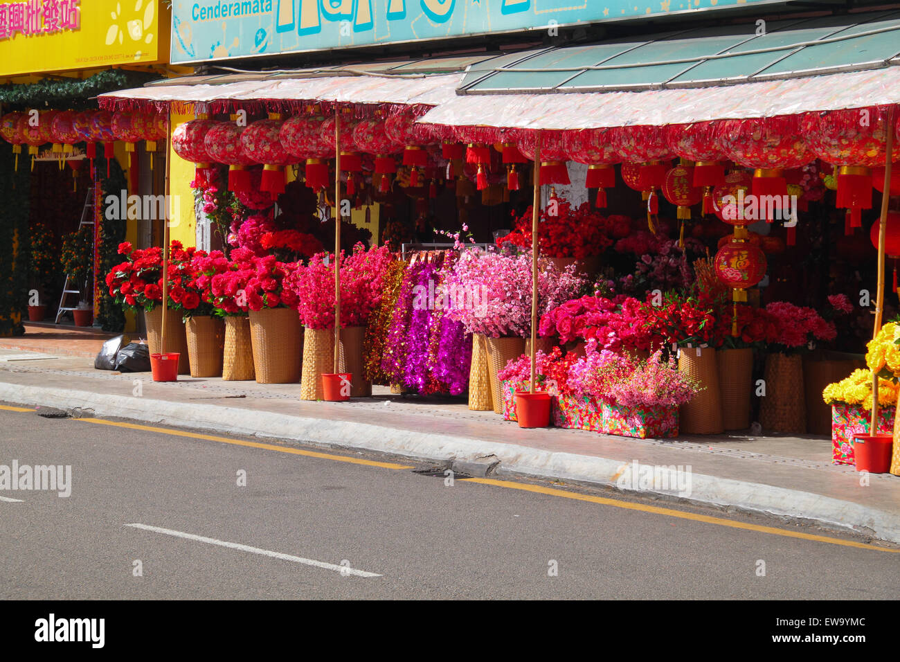 Shop Selling Seasonal Decoration Items Such As Chinese New Year Lanterns,  And Flowers.
