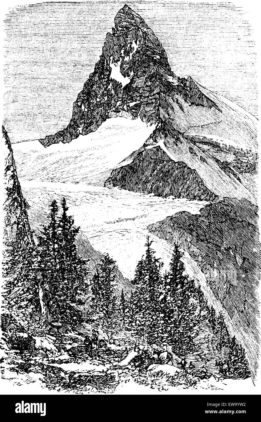 The Matterhorn mountain or Monte cervino, Zermatt, Switzerland vintage engraving. Old engraved illustration of beautiful - Stock Vector