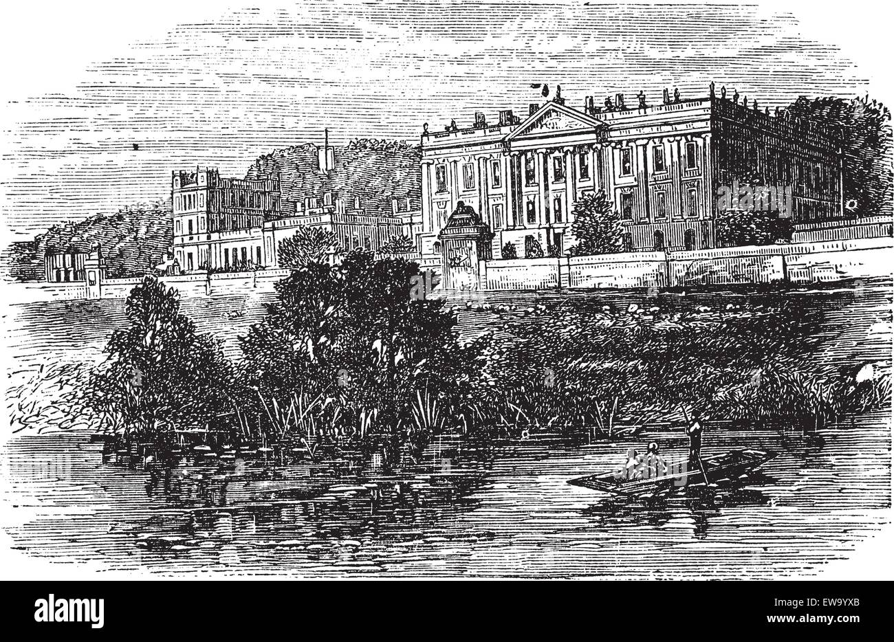 Cheltenham College, in Gloucestershire, United Kingdom, during the 1890s, vintage engraving. Old engraved illustration - Stock Vector