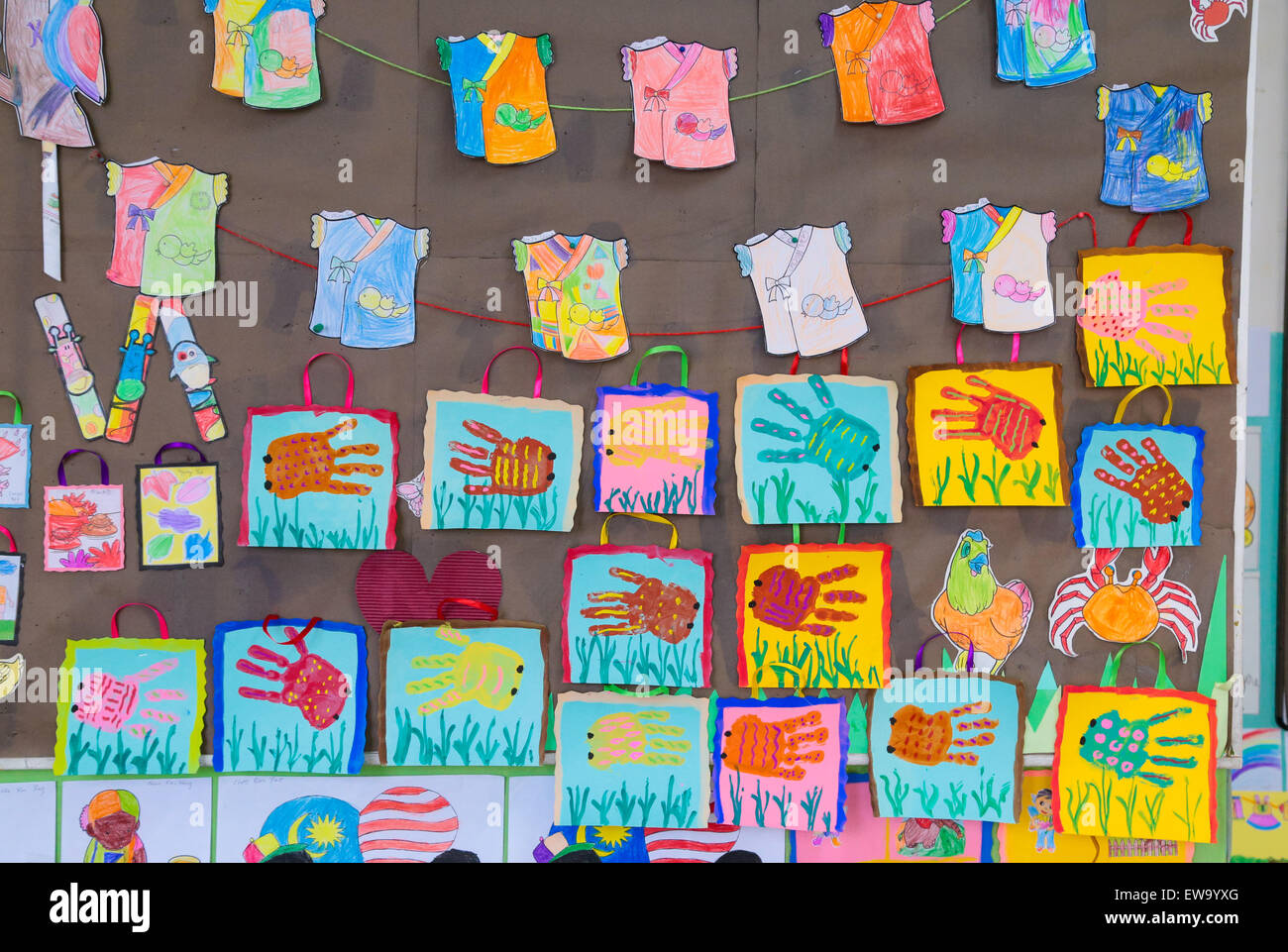 Children Handicrafts Displayed At Kindergarten Art And Handiwork Corner