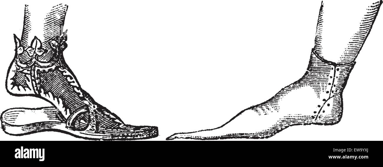Sandal and Poulaine, vintage engraving. Old engraved illustration showing a Decorated Sandal from a Portrait of - Stock Vector