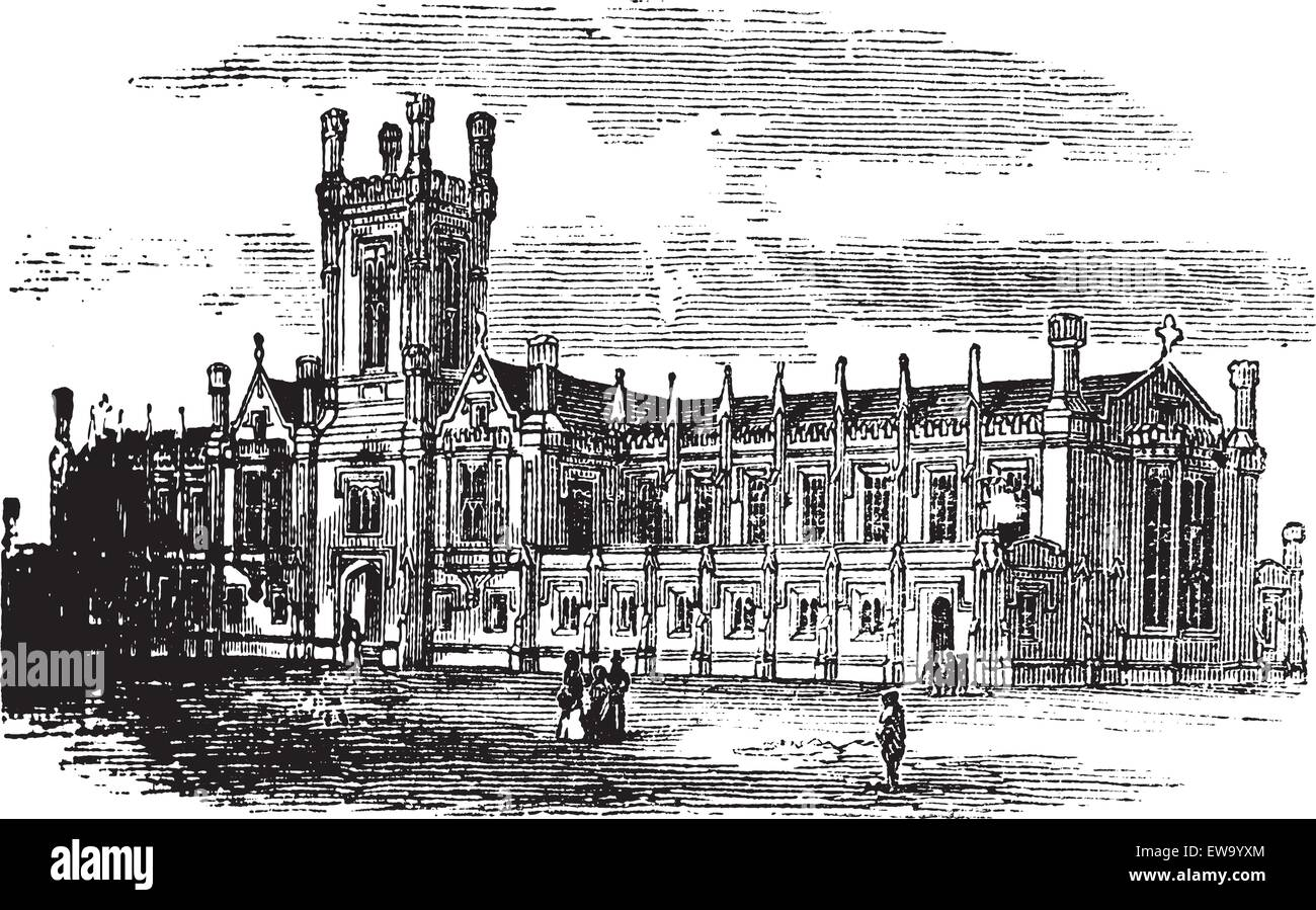 Cheltenham College, in Gloucestershire, England, during the 1890s, vintage engraving. Old engraved illustration - Stock Vector