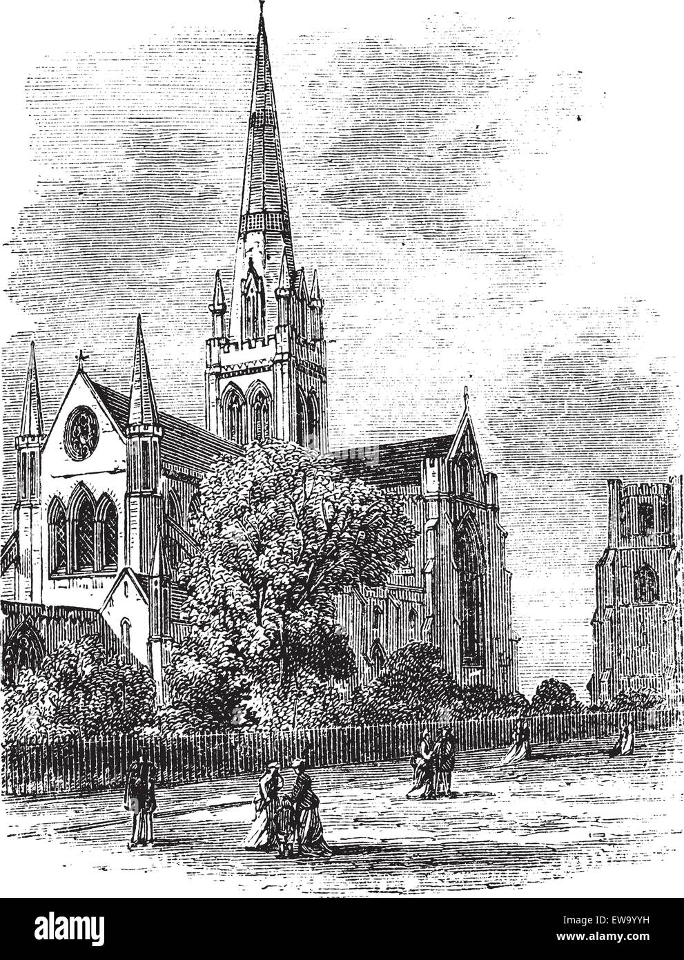 Chichester Cathedral or Cathedral Church of the Holy Trinity, in Sussex, England, during the 1890s, vintage engraving. - Stock Vector