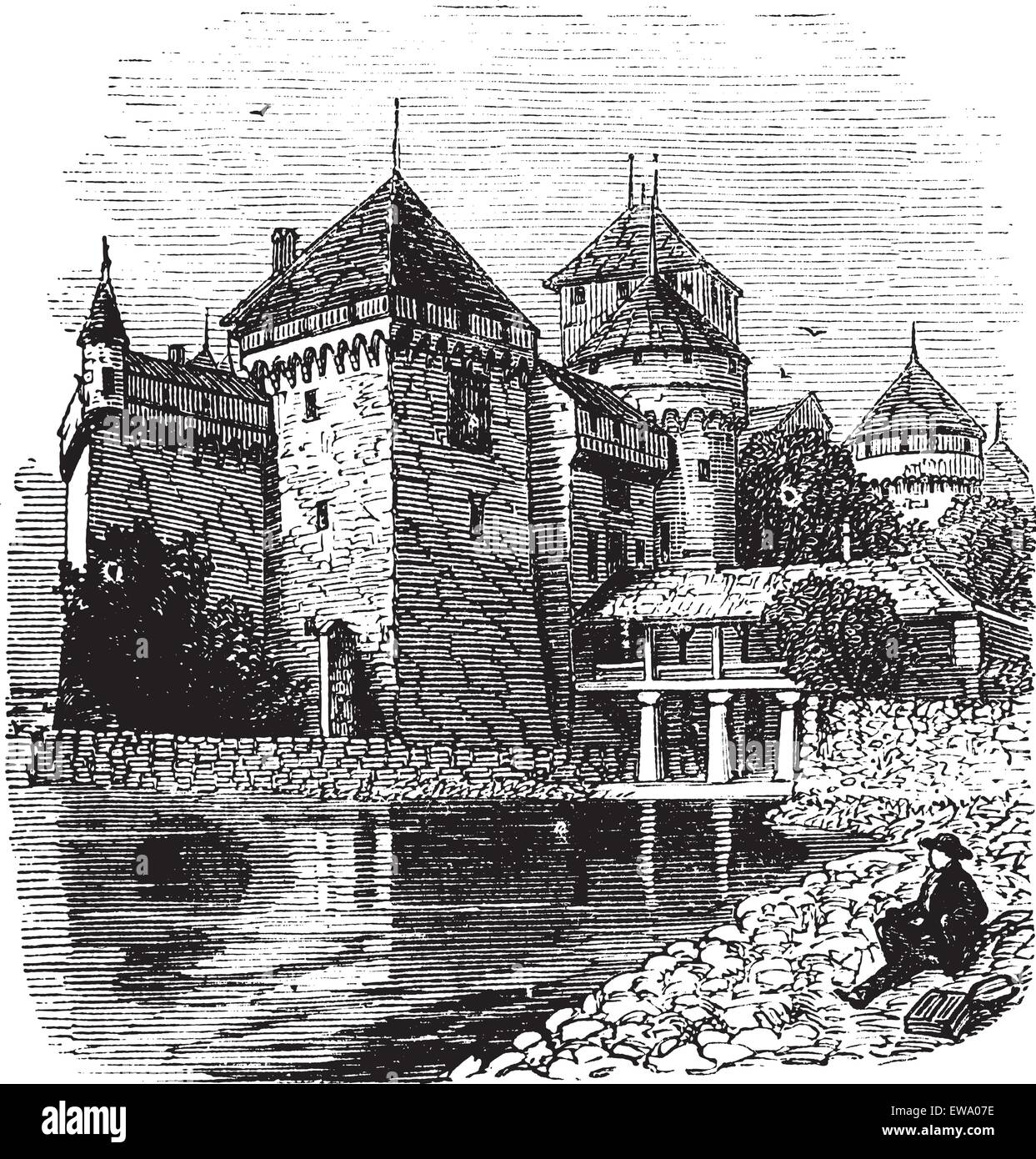 Chillon Castle or Chateau de Chillon in Veytaux, Switzerland, during the 1890s, vintage engraving. Old engraved - Stock Vector