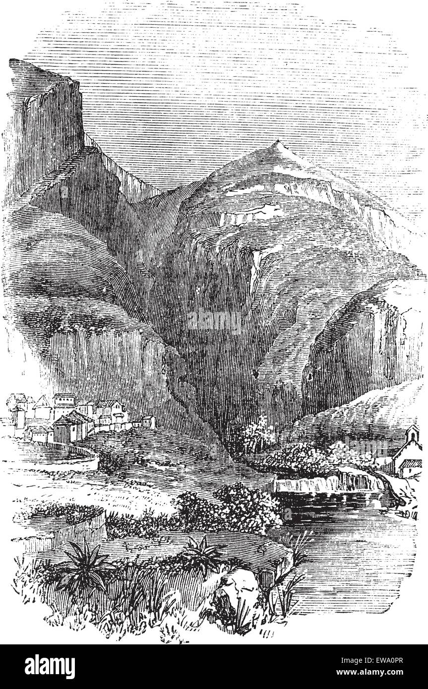 Delphi in Greece, during the 1890s, vintage engraving. Old engraved illustration of Delphi. - Stock Vector
