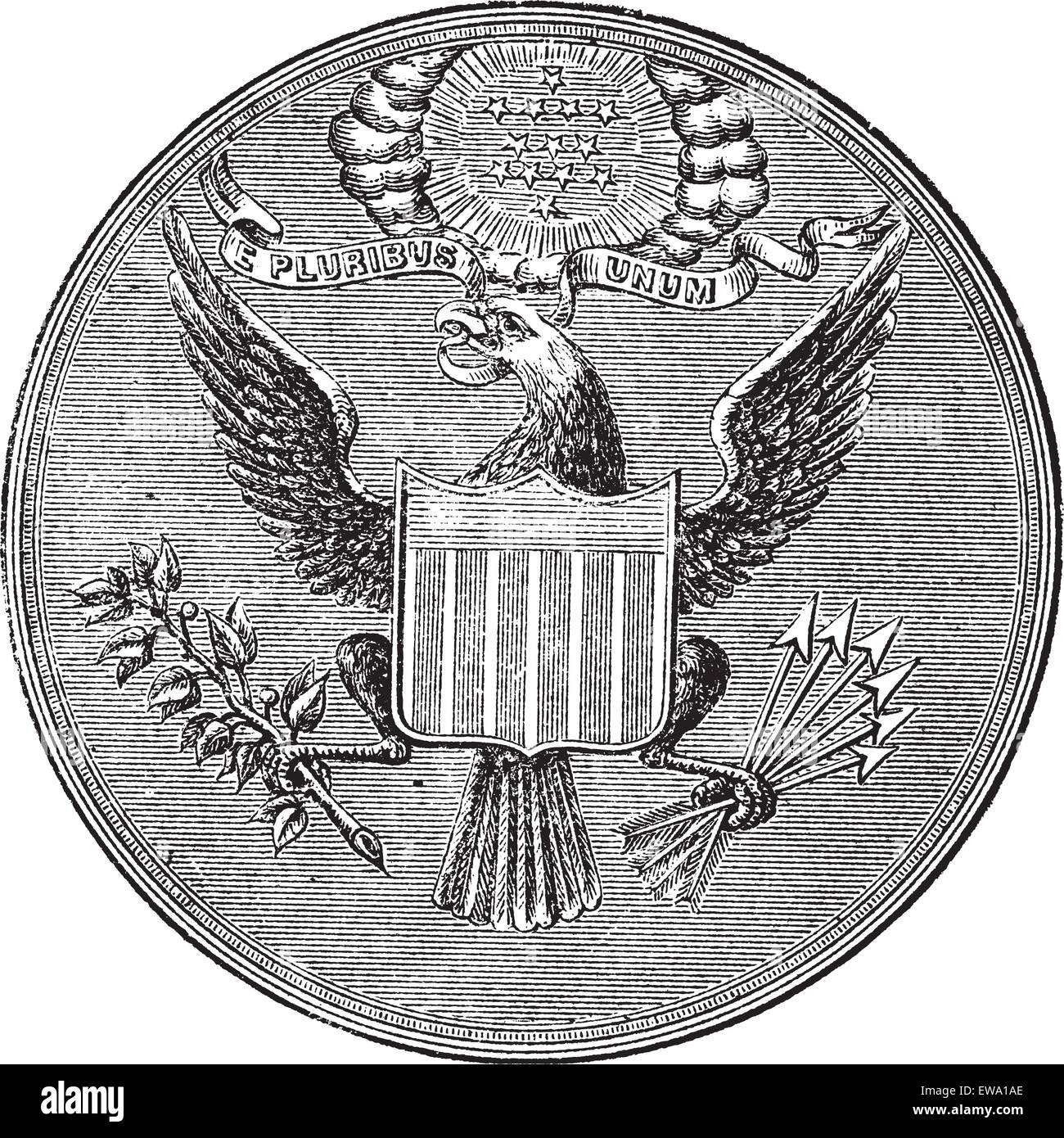 Great Seal of the United States of North America, vintage engraved illustration. Trousset encyclopedia (1886 - 1891). - Stock Image