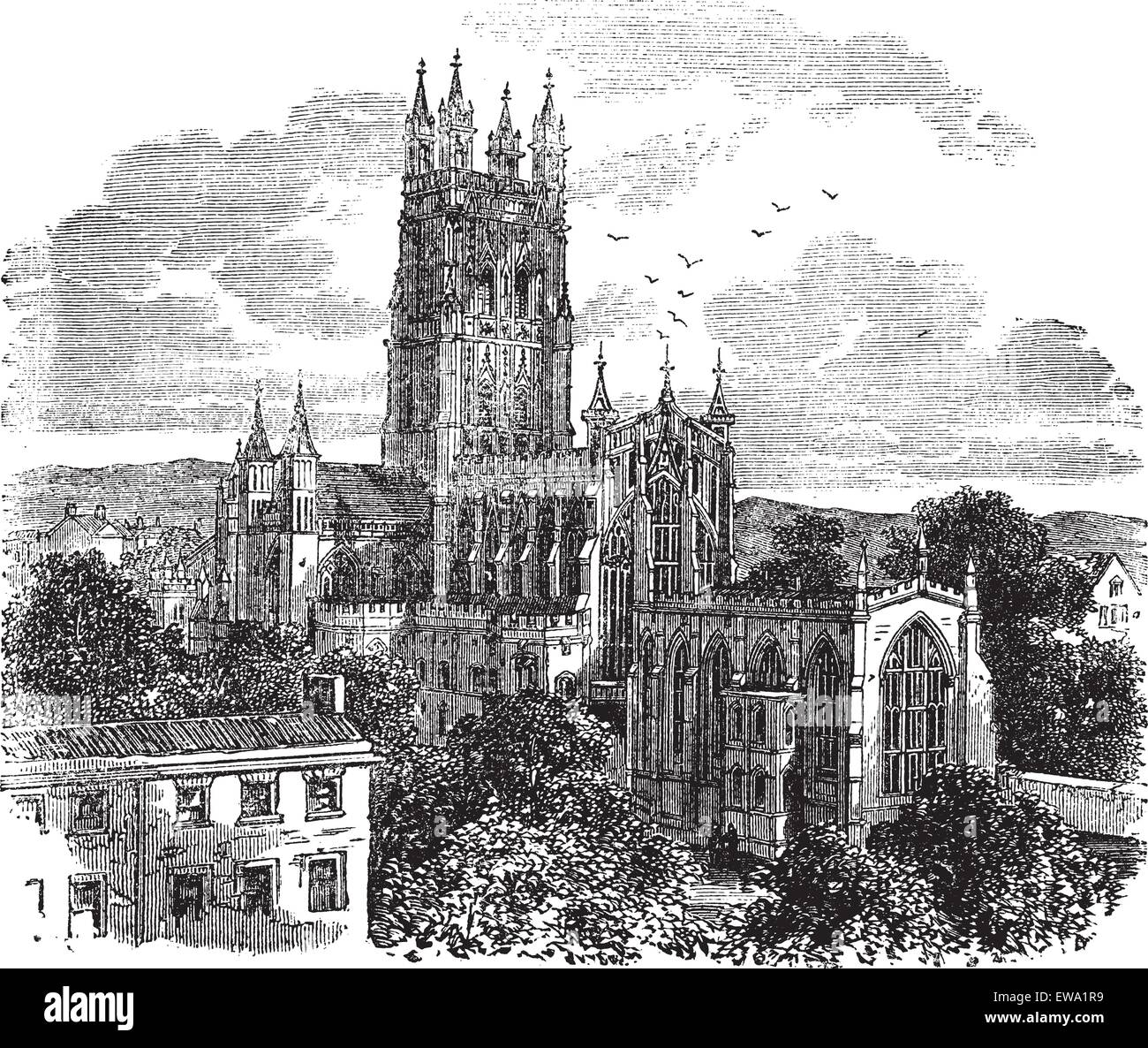 Gloucester Cathedral or the Cathedral Church of St Peter and the Holy and Indivisible Trinity in Gloucester, England - Stock Vector