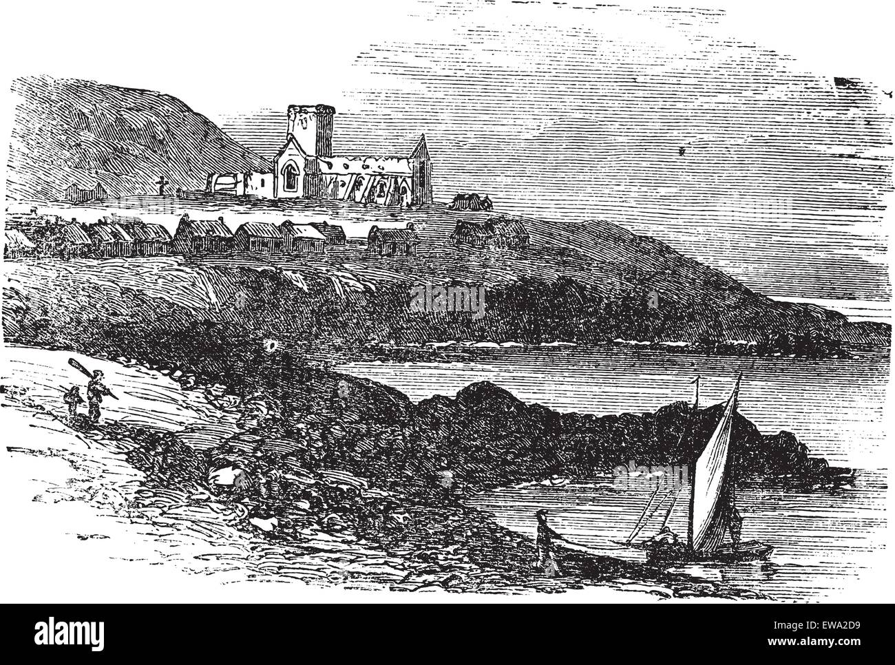 The ruins of St Mary's Abbey in Iona, Scotland, during the 1890s, vintage engraving. Old engraved illustration - Stock Vector