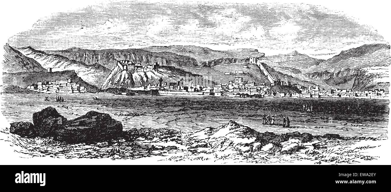Landscape and mountains at Kars, Turkey vintage engraving. Old engraved illustration of landscape and mountains - Stock Vector