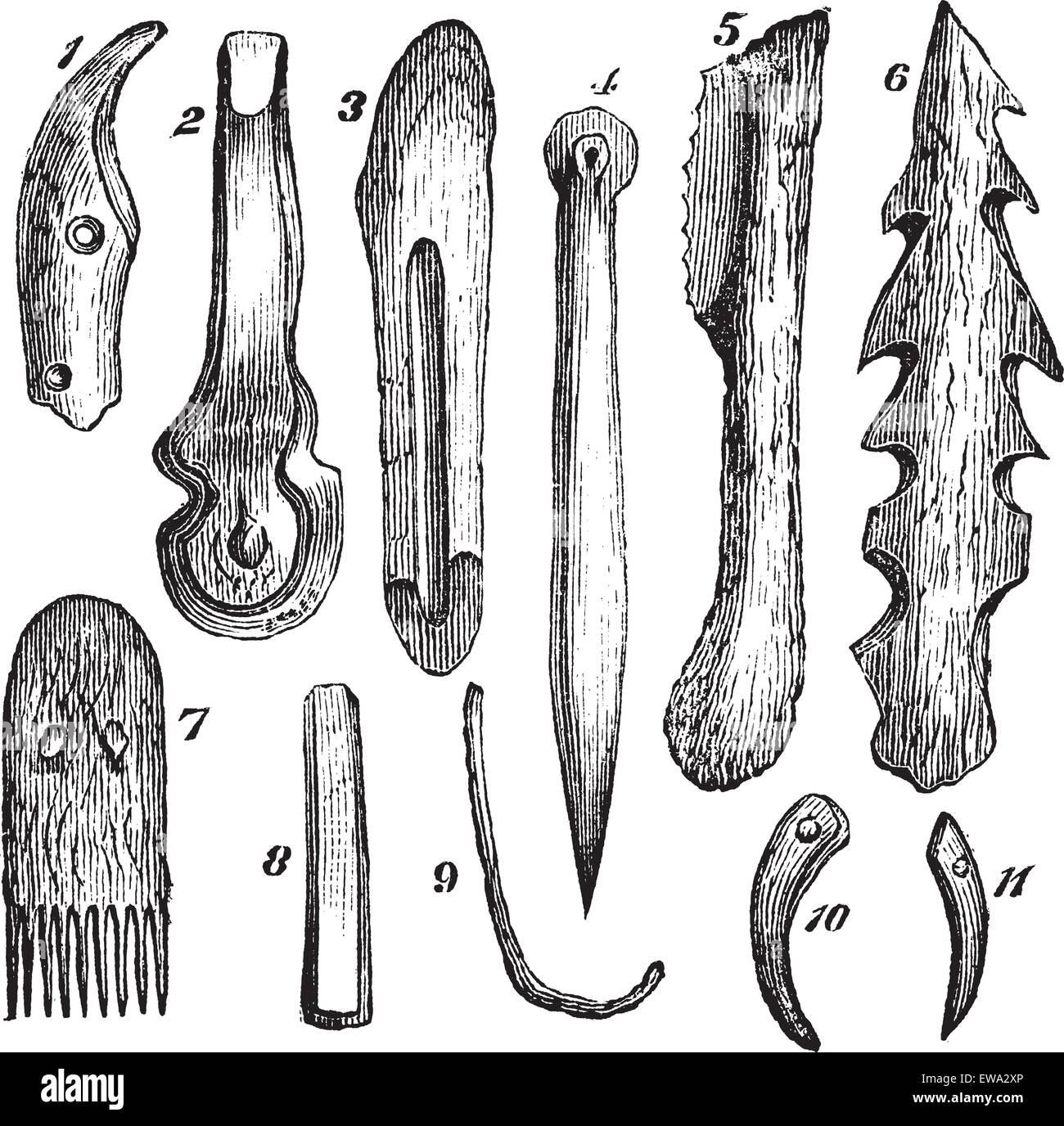 Bone implements, flint and wood, found in Moosseedorf vintage engraving. Old engraved illustration of 1.knife-tooth - Stock Image