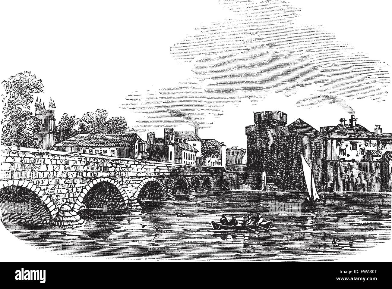 Thomond Bridge and King John's Castle, Limerick, Ireland vintage engraved illustration. Trousset encyclopedia - Stock Vector
