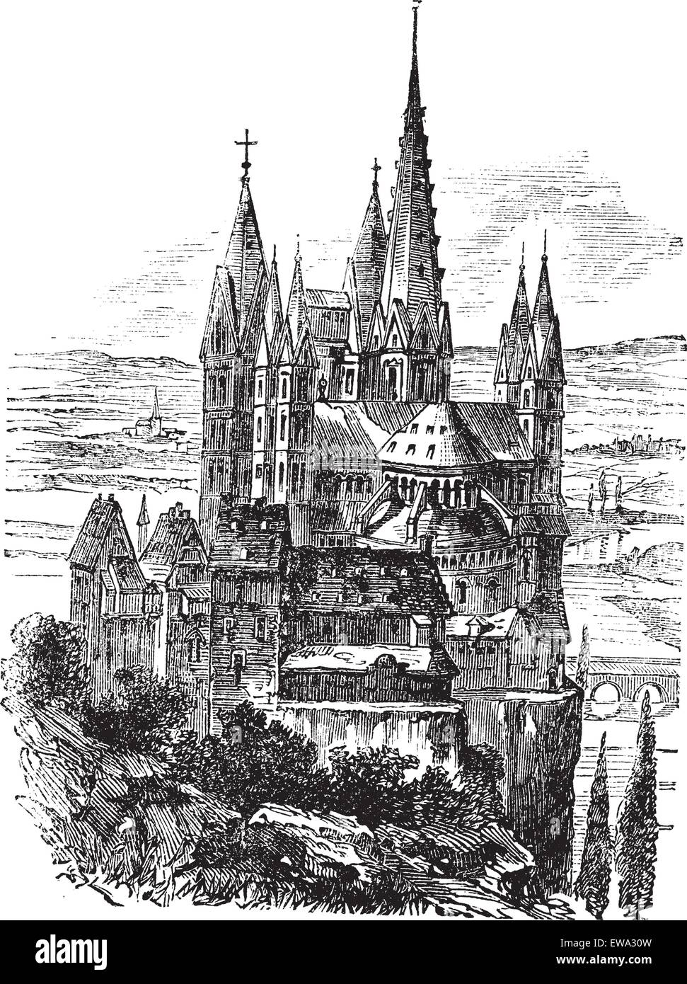 Cathedral of St. George, Limburg-On-The-Lahn vintage engraved illustration. Trousset encyclopedia (1886 - 1891). - Stock Vector